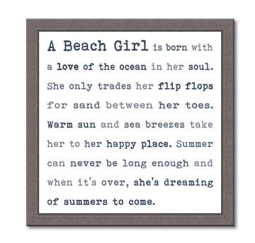 60380 A BEACH GIRL - FRAMED TYPOLOGY 12X12