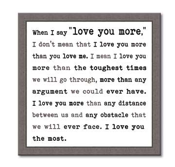 60383 WHEN I SAY I LOVE YOU - FRAMED TYPOLOGY 12X12