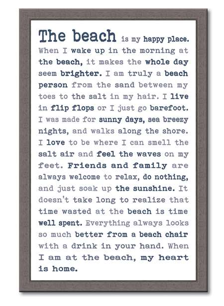 60399 THE BEACH - FRAMED TYPOLOGY 12X18