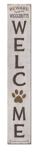 60709 WELCOME - BEWARE WIGGLEBUTTS - PORCH BOARDS 8X46.5