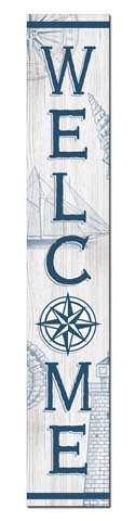 60767 WELCOME - NAUTICAL COMPASS ROSE -PORCH BOARD 8X46.5