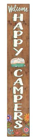 60773 WELCOME HAPPY CAMPERS - PORCH BOARD 8X46.5