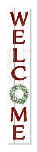60865 WELCOME HOLLY WREATH -PORCH BOARDS 8X46.5