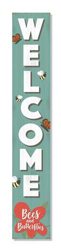 60932 WELCOME BEES AND BUTTERFLIES PORCH BOARDS 46.5X8