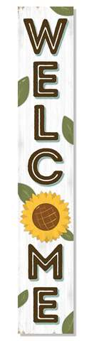 60936 WELCOME - WHITE SUNFLOWER PORCH BOARDS 46.5X8