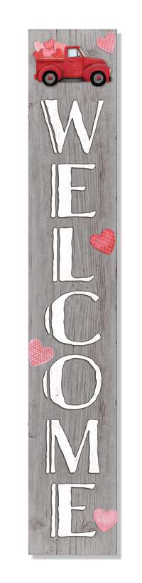 60951 WELCOME - HEARTS IN RED TRUCK PORCH BOARD 8X46.5