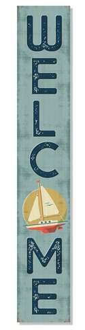60959 WELCOME - SAILBOAT - PORCH BOARD 8X46.5