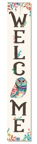60974 WELCOME - OWL FLORAL - PORCH BOARD 8X46.5