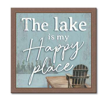 74645 THE LAKE IS MY HAPPY PLACE - 12X12 FRAMED