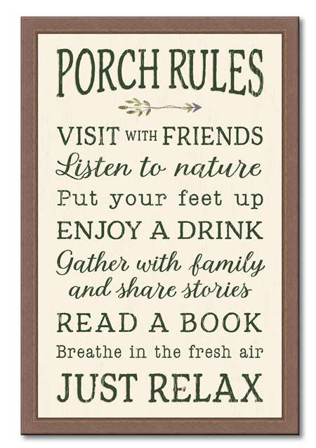 74657 PORCH RULES - 12X18 FRAMED